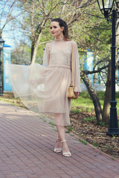 dress,tumblr,nude dress,see through,see through dress,pleated,pleated dress,sandals,sandal heels,high heel sandals,white sandals,spring outfits,spring dress,long sleeves,long sleeve dress