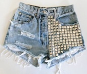 shoes,studded shorts,denim shorts,ripped shorts,silver studs,shorts,studs,hot pants,high waisted denim shorts,High waisted shorts,cute,hipster,swag,jeans