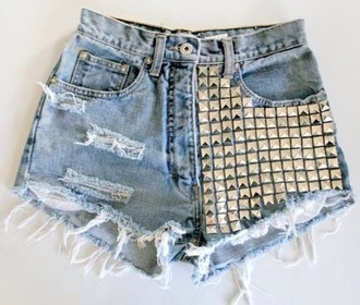 shoes studded shorts denim shorts ripped shorts silver studs shorts studs hot pants high waisted denim shorts high waisted shorts cute hipster swag jeans