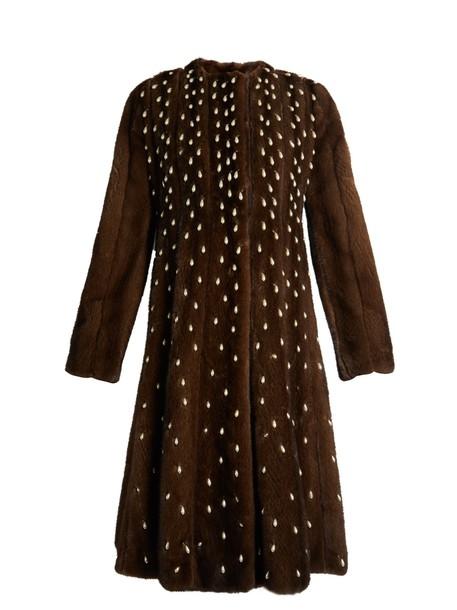 Altuzarra coat fur coat fur pearl embellished dark brown