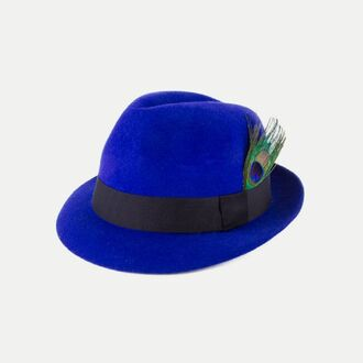 hat electric blue electric blue hat peacock blue hat blue fedora