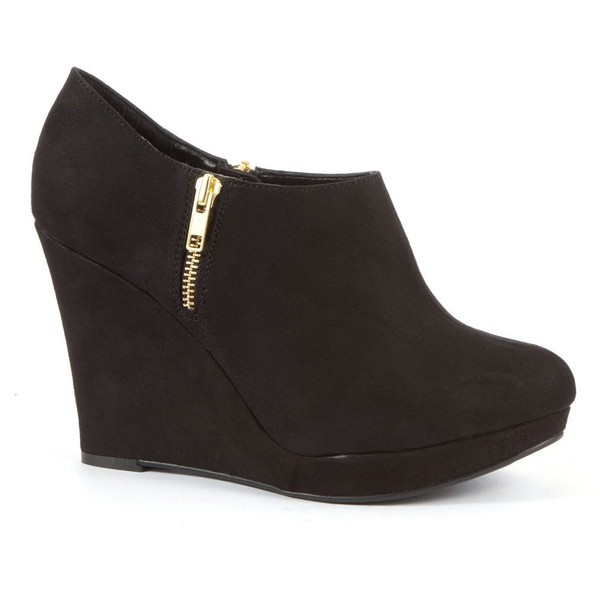 wide fit black zip side wedge shoe boots