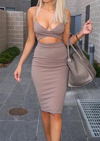 dress bodycon dress summer cut-out dress