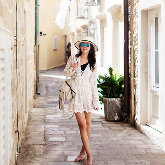 fit fab fun mom blogger sunglasses jewels romper swimwear shoes white dress long sleeves lace dress white hat white bag flats