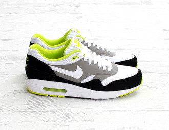 shoes nike nike air max 1 yellow white grey clothes dress skirt bag neon essential air max 1 essential air max