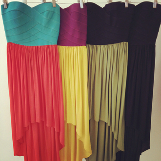 dress colorful bandage fun clothes pretty high-low dresses high-low high low hi lo bandeau bandage dress chiffon dresses