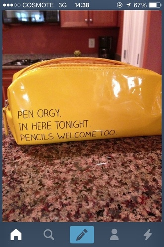 bag back to school study pencils pen orgy yellow pencil case cool awsome quote on it lemongrass