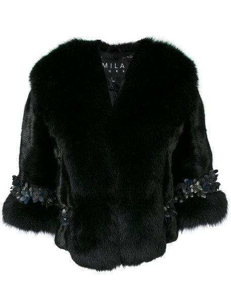 Cara Mila jacket fur fox women embellished black