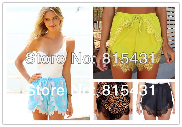 2014 brand new fashion high waist short women plus size lace patchwork shorts feminino saia-inShorts from Apparel & Accessories on Aliexpress.com