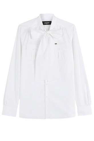 shirt bow cotton white top
