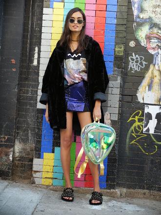 gizele a go-go blogger alien holographic bag holographic mini skirt black coat slide shoes