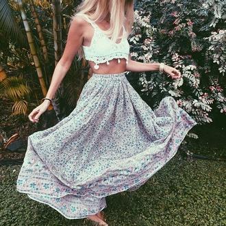skirt boho vibe boho floral skirt crochet crop top crochet bralette high waisted maxi skirt bohemian