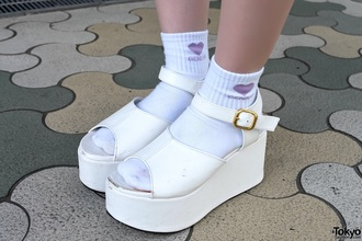 shoes white sandals chunky chunky sandals cyber cyber ghetto platform shoes platform sandals cyber goth strappy holidays summer kawaii japan cute sandals chunky shoes chunky heels kawaii shoes