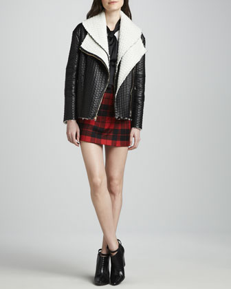 Alice   Olivia Carrie Textured-Leather Double-Collar Jacket, Robin Contrast-Bow Blouse & Weston Plaid Faux-Wrap Skirt - Neiman Marcus