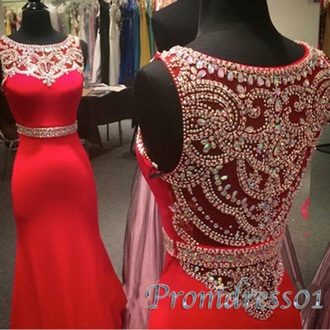 dress red bedazzled prom dress