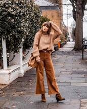 sweater,brown jumper,brown roll neck long sleeve knit jumper,light brown bag,wide legged pants,brown boots,streetstyle,knitted sweater