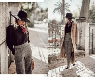 seams for a desire blogger coat sweater pants shoes hat scarf bag jewels winter outfits black sweater grey pants beige coat pumps