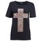 Leopard cross black t-shirt [nctd0054] - $31.99 :