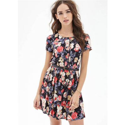 Black slim vintage floral chest pleated short sleeved chiffon dress