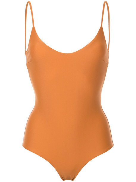 Matteau - The Scoop Maillot swimsuit - women - Nylon/Spandex/Elastane - 3, Yellow/Orange, Nylon/Spandex/Elastane