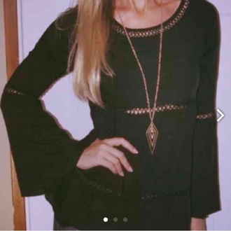 shirt black long sleeve bell sleeve top crochet middle blouse