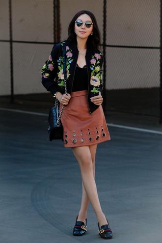 fit fab fun mom blogger jacket skirt shoes bag sunglasses jewels black jacket black top lace top mini skirt suede skirt pink skirt shoulder bag chanel chanel bag flats gucci
