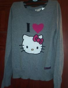 Grey Knit Sweater Jumper Sweatshirt Hello Kitty 6 8 10 H&M Small Vintage | eBay