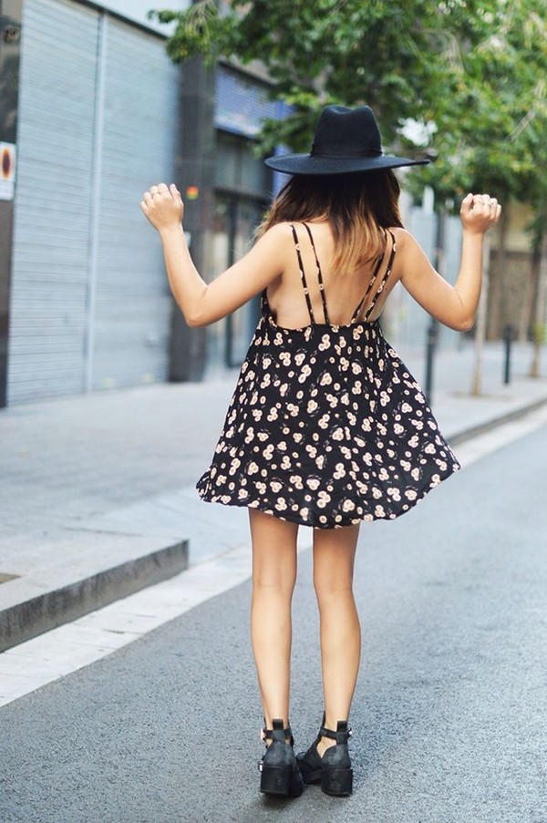 dress floral cute cute dress summer shoes hat floralpattern short dress black dress