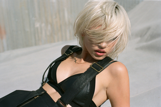 underwear nastygal lookbook leather leather bra crosses cross necklace gold necklace gold cross suspenders jewels skirt