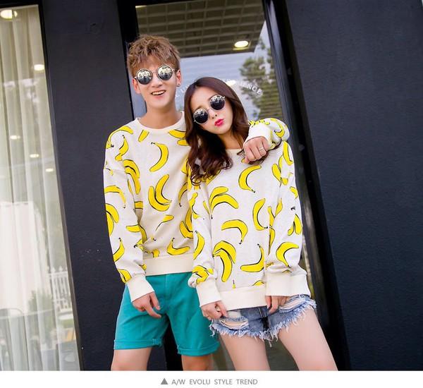 sweater white cute menswear banana print boyfriend