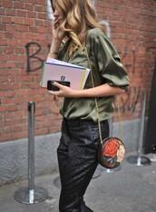 bag,green shirt,round bag,chain bag,shoulder bag,pants,black pants,shirt,streetstyle,tumblr,satin shirt,army green,office outfits