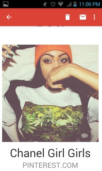 shirt clothes dope weed girl orange beanie