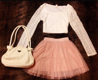 skirt tulle skirt white lace blouse small purse