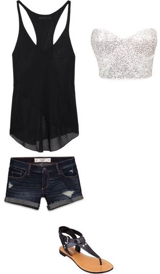 tank top shoes shorts top glitter black top blouse girl's clothes