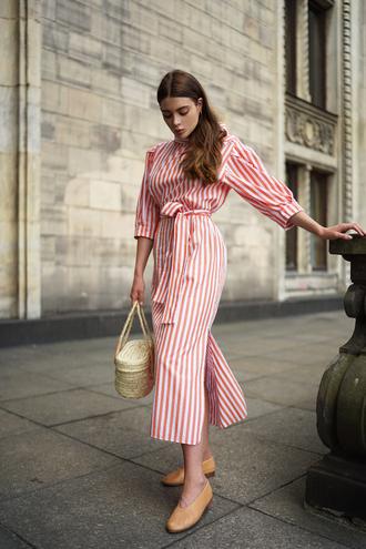 dress tumblr red dress midi dress stripes striped dress bag basket bag shoes flats