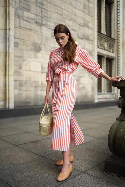 5701edc352a dress tumblr red dress midi dress stripes striped dress bag basket bag  shoes flats