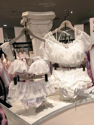 underwear white lingerie lace white ruffles ruffle frilly feminine