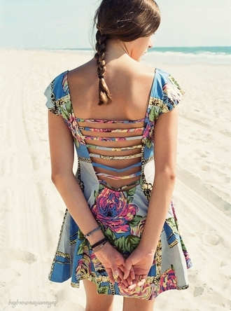 dress clothes floral blue skater skater dress blue dress floral dress pretty cut out cut-out cut out back multicolor floral prints dress cute dress cute floral pattern floral pattern dress floral patterns floral patterns dress floral prints girl girly girly outfits tumblr nice nice outfit
