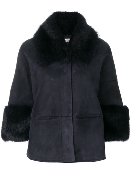 Desa Collection jacket shearling jacket cropped women blue