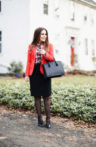 dress corilynn blogger dress shirt skirt jacket bag jewels tights shoes fall outfits handbag red jacket blazer pencil skirt