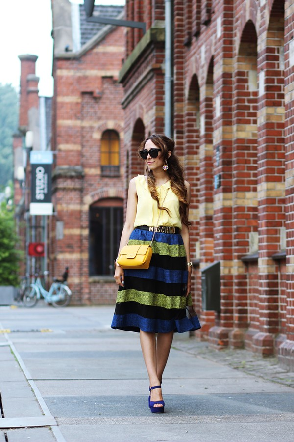 preppy fashionist sunglasses top belt skirt bag shoes jewels