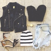 shoes,jacket,tank top,hat,shorts,black,leather,girl,shirt,crop tops,denim vest,stripes,style,high heels,top,jewels,black crop top,vest,High waisted shorts,denim,bralette,heels,beanie,gold,gold watch,black leather,cropped jacket,blue jean shorts,high-waist jean shorts,denim shorts,black and white,grunge