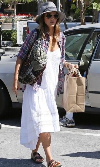 dress white dress summer outfits jessica alba bag