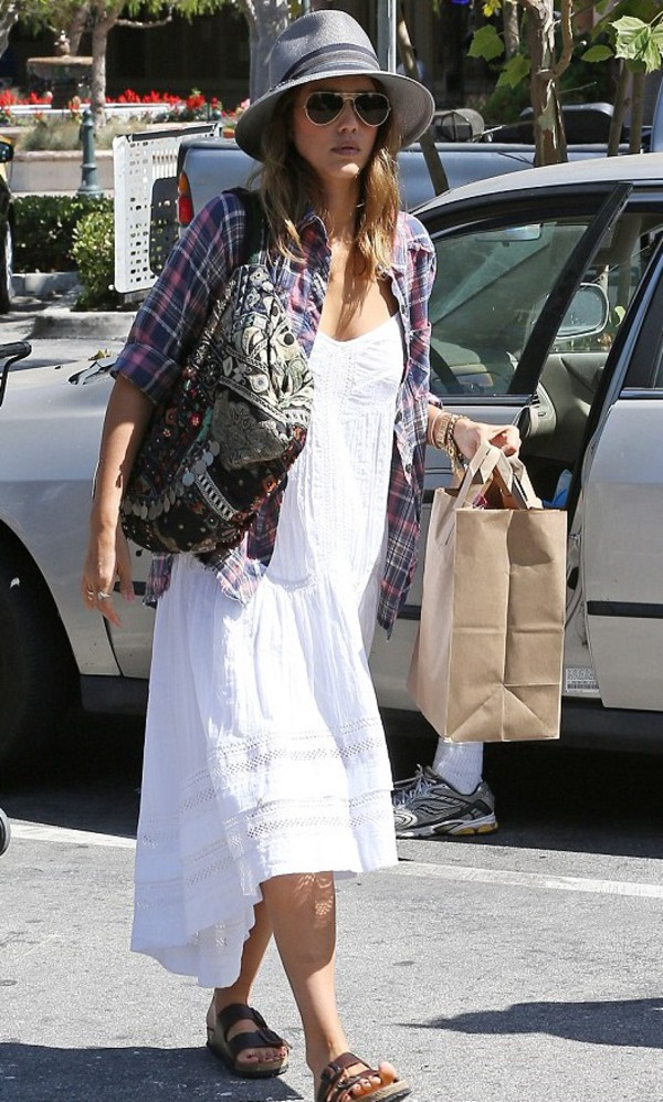dress white dress summer outfits jessica alba bag
