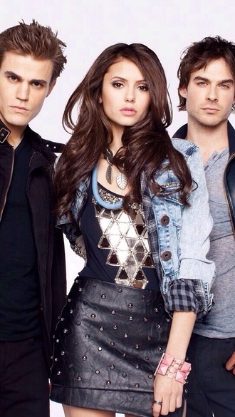 blouse nina dobrev the vampire diaries elena gilbert denim jacket black skirt jacket skirt nylon magazine 2010 navy tank top top nylon mini skirt