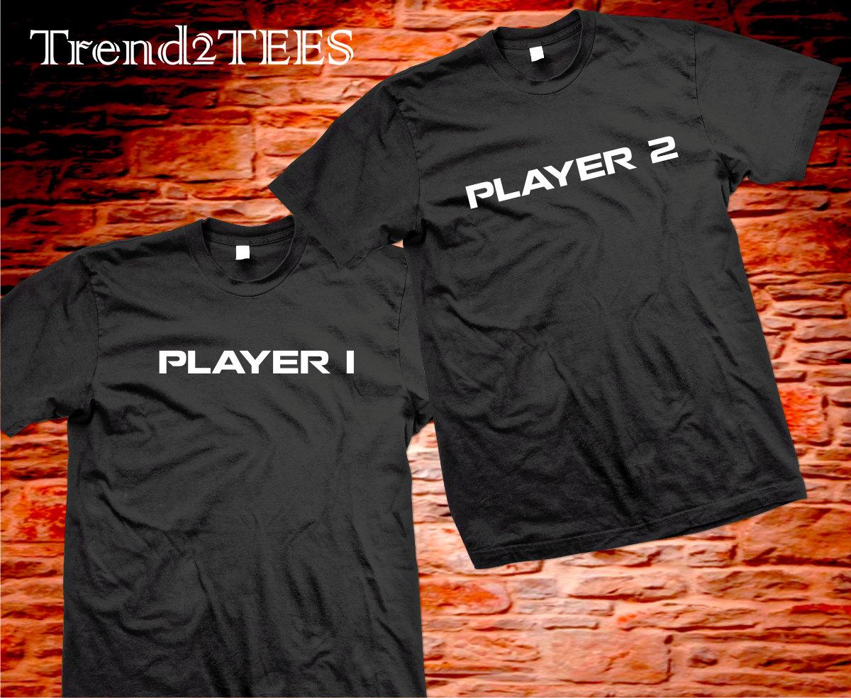 771208e16d Player 1 Player 2 Shirts Couples Matching Tshirts, Player Couples Shirts,  Tshrits for Couples, ...