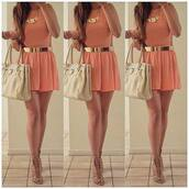 dress,coral,coral dress,peach dress,golden belt,gold,necklace,sandal heels,nude sandals,white bag,bag,belt,jewels,short,shoes,pink,pink dress,jewelry,brown high heels,top