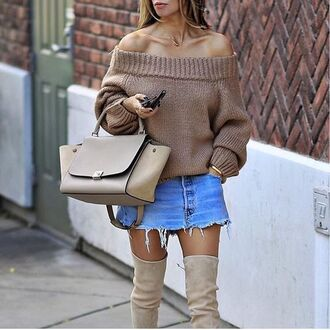 sweater tumblr off the shoulder off the shoulder sweater nude sweater beige sweater bag nude bag skirt mini skirt frayed denim denim denim skirt over the knee boots fall outfits oversized sweater oversized