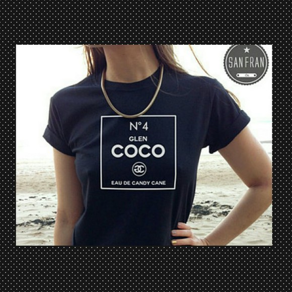 navy t-shirt printed glen coco coco rolled sleeves