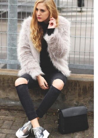 shoes lookbook blogger ripped jeans winter outfits silver creepers platform shoes zaful winter coat instagram stylish
